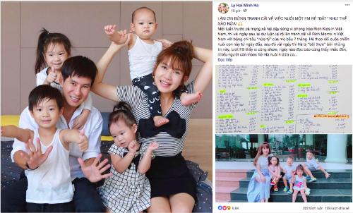 Gia đình Lý Hải - Minh Hà và bài đăng tư vấn về cách chi tiêu thông thái.
